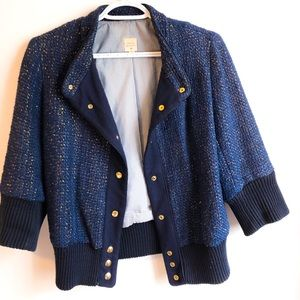 Lauren Moffat Navy and Gold threaded Jacket